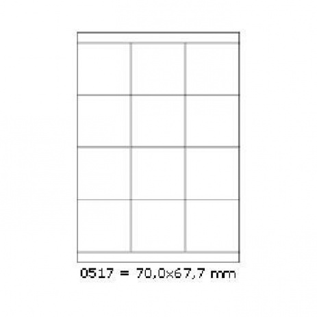 Samolepiace etikety 70 x 67,7 mm, 12 etikiet, A4, 100 listov