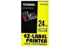 Casio XR-24YW1, 24mm x 8m, černý tisk/žlutý podklad, originální páska