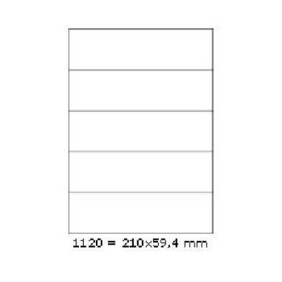 Samolepicí etikety 210 x 59,4 mm, 5 etiket, A4, 100 listů