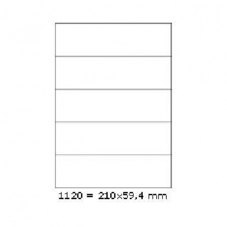 Selfadhesive labels 210 x 59,4 mm, 5 labels, A4, 100 sheets