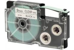 Casio XR-9X1, 9mm x 8m, černý tisk/průhledný podklad, originální páska