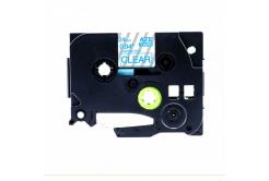 Kompatibilní páska s Brother TZ-153 / TZe-153, 24mm x 8m, modrý tisk / průhledný podklad