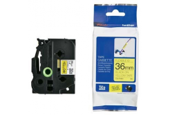 Brother TZ-FX661 / TZe-FX661, 36mm x 8m, flexi, černý tisk / žlutý podklad, originální páska