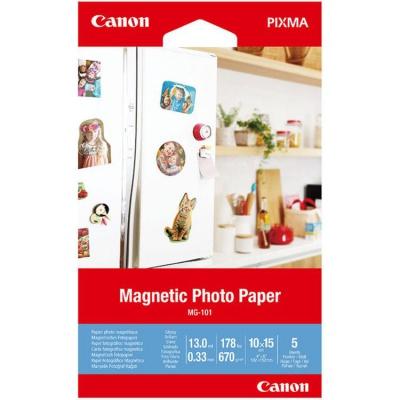 """Canon 3634C002 Magnetic Photo Paper, foto papír, lesklý, bílý, Canon PIXMA, 10x15cm, 4x6"""", 670 g/m2, 5 ks"""