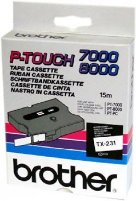 Brother TX-231, 12mm x 15m, czarny druk / biały podkład, taśma oryginalna