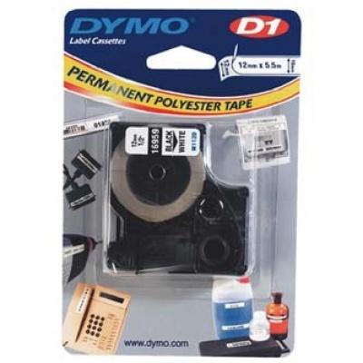 Dymo D1 16959, S0718060, 12mm x 5.5m, černý tisk/bílý podklad, originální páska