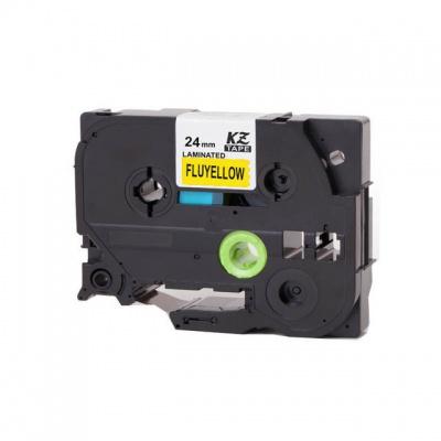Kompatibilní páska s Brother TZ-C51/TZe-C51, signální 24mm x 8m, černý tisk/žlutý podklad