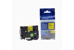 Kompatibilní páska s Brother TZ-651 / TZe-651, 24mm x 8m, černý tisk / žlutý podklad