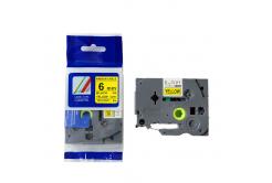 Kompatibilní páska s Brother TZ-FX611/TZe-FX611, 6mm x 8m, flexi, černý tisk / žlutý podklad