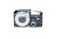 Casio R7WE (XR-12HSWE), 12mm x 2m, ?7mm, černý tisk / bílý podklad, smršťovací, kompatibilní páska