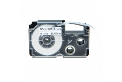 Banda compatibila Casio R7WE 12mm x 2,5m contractabila, text negru / fundal alb