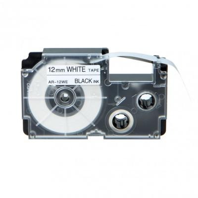 Casio R7WE (XR-12HSWE), 12mm x 2m, černý tisk / bílý podklad, smršťovací, kompatibilní páska