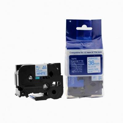 Kompatibilní páska s Brother TZ-263 / TZe-263, 36mm x 8m, modrý tisk / bílý podklad