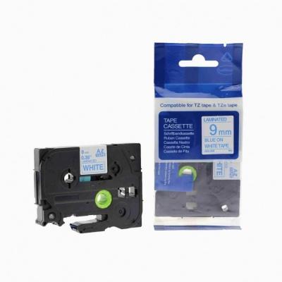 Kompatibilní páska s Brother TZ-223 / TZe-223, 9mm x 8m, modrý tisk / bílý podklad