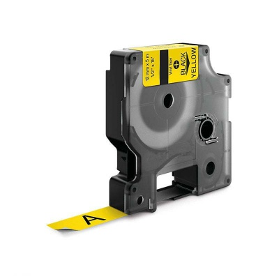 Kompatibilní páska s Dymo 18432, 12mm x 5, 5m černý tisk / žlutý podklad, vinyl