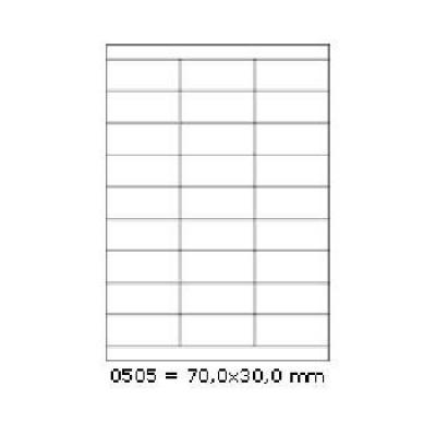 Samolepicí etikety 70 x 30 mm, 27 etiket, A4, 100 listů