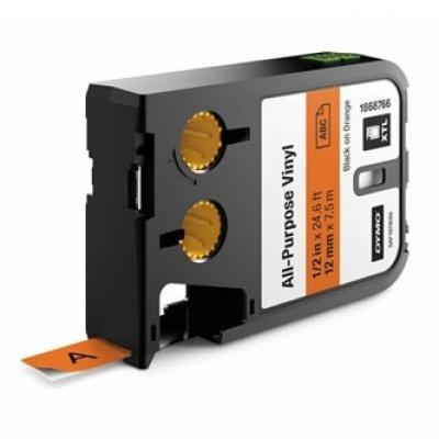 Dymo XTL 1868766, 12mm x 7m, černý tisk/oranžový podklad, originální páska