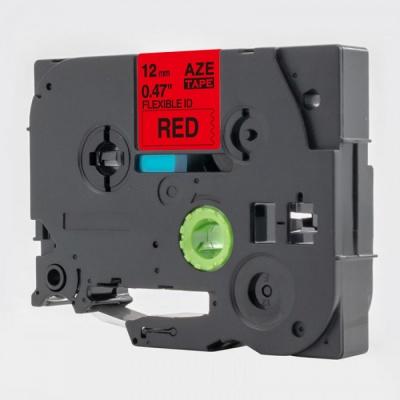 Kompatibilní páska s Brother TZ-FX431 / TZe-FX431, 12mm x 8m, flexi, černý tisk / červený