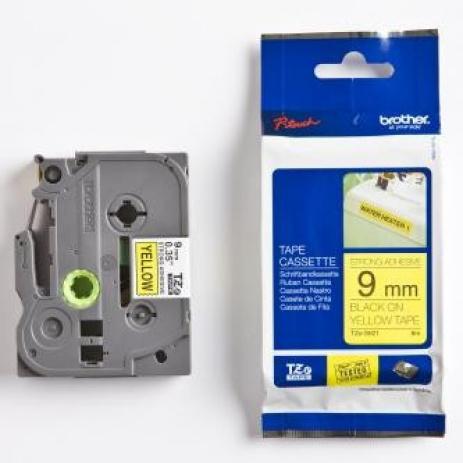 Páska Brother TZ-S621 / TZe-S621, 9mm x 8m, černý tisk/žlutý podklad