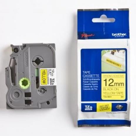 Brother TZ-S631 / TZe-S631, 12mm x 8m, černý tisk/žlutý podklad, originální páska