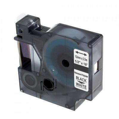 Kompatibilní páska s Dymo 18483, 12mm x 5, 5m černý tisk / bílý podklad, polyester