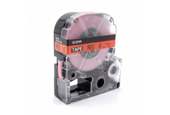 Epson LC-SC6RW, 6mm x 8m, černý tisk / červený podklad, kompatibilní páska