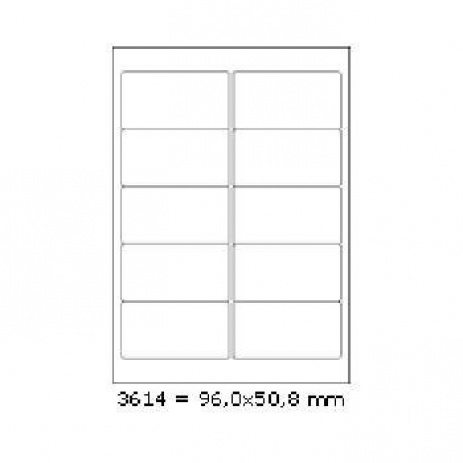Selfadhesive labels 96 x 50,8 mm, 10 labels, A4, 100 sheets