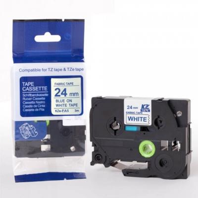 Kompatibilní páska s Brother TZe-FA5, 24mm x 3m, modrý tisk / bílý podklad, zažehlovací