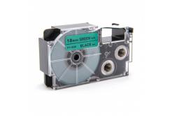 Kompatibilní páska s Casio XR-18GN1, 18mm x 8m černý tisk / zelený podklad