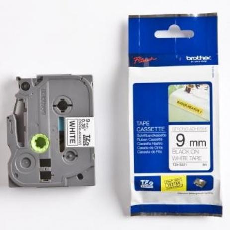 Brother TZ-S221 / TZe-S221, 9mm x 8m, černý tisk/bílý podklad, originální páska