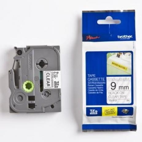 Brother TZ-S121 / TZe-S121, 9mm x 8m, černý tisk/čirý podklad, originální páska