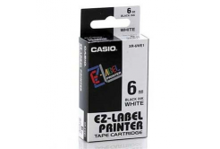 Casio XR-6WE1, 6mm x 8m, černý tisk/bílý podklad, originální páska