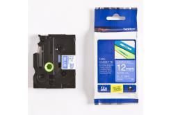 Brother TZ-535 / TZe-535, 12mm x 8m, bílý tisk / modrý podklad, originální páska