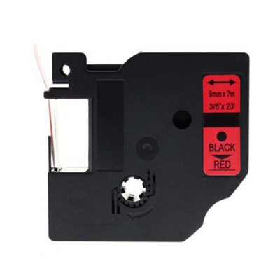 Kompatibilní páska s Dymo 40917, S0720720, 9mm x 7m černý tisk / červený podklad