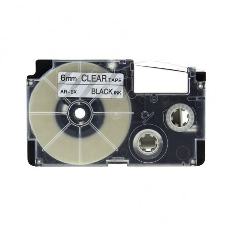 Kompatibilní páska s Casio XR-6X1, 6mm x 8m černý tisk / průhledný podklad
