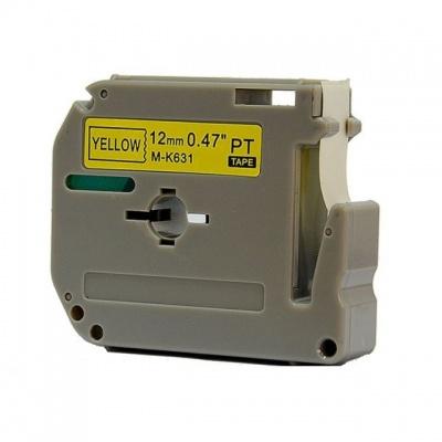 Kompatibilní páska s Brother MK-631, 12mm x 8m, černý tisk / žlutý podklad