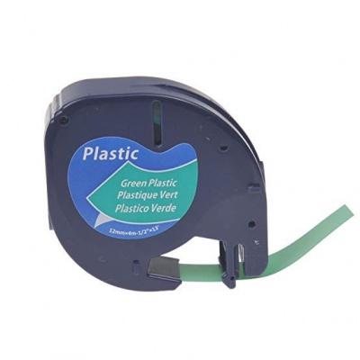 Kompatibilní páska s Dymo 59425, S0721590 / 91204, S0721640 LetraTag 12mm x 4m, černý tisk/zelený podklad
