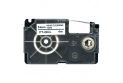 Casio XR-24CL, 24mm x 4m, černý tisk / bílý podklad, čisticí, kompatibilní páska