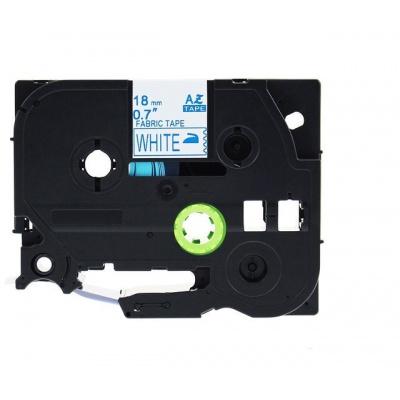 Kompatibilní páska s Brother TZe-FA4, 18mm x 3m, modrý tisk / bílý podklad, zažehlovací