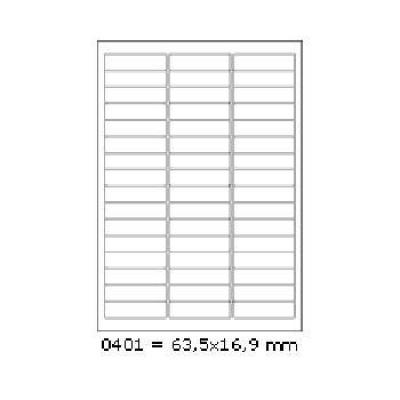 Samolepicí etikety 63,5 x 16,9 mm, 48 etiket, A4, 100 listů