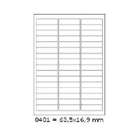 Selfadhesive labels 63,5 x 16,9 mm, 48 labels, A4, 100 sheets
