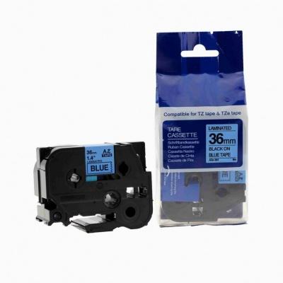 Kompatibilní páska s Brother TZ-561 / TZe-561, 36mm x 8m, černý tisk / modrý podklad