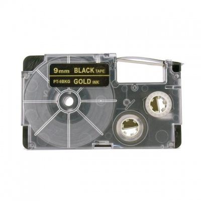 Kompatibilní páska s Casio XR-9BKG 9mm x 8m zlatý tisk / černý podklad