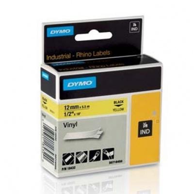Dymo Rhino 18432, S0718450, 12mm x 5,5m černý tisk / žlutý podklad, originální páska