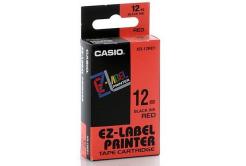 Casio XR-18RD1, 18mm x 8m, čierna tlač/červený podklad, originálna páska