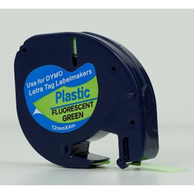 Dymo 91212 LetraTag 12mm x 4m, černý tisk / fluorescenční zelený podklad, kompatibilní páska