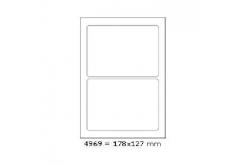 Samoprzylepne etykiety 178 x 127 mm, 2 etykiety, A4, 100 arkuszy