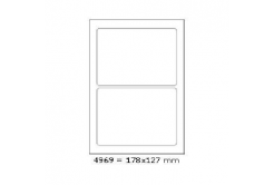 Samolepicí etikety 178 x 127 mm, 2 etikety, A4, 100 listů