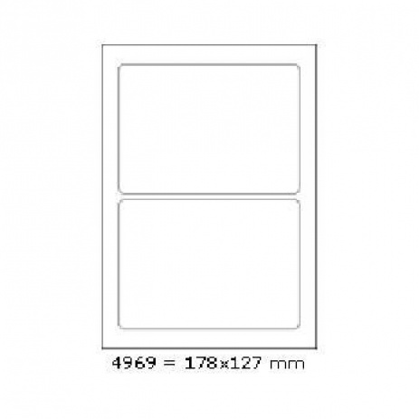 Selfadhesive labels 178 x 127 mm, 2 labels, A4, 100 sheets