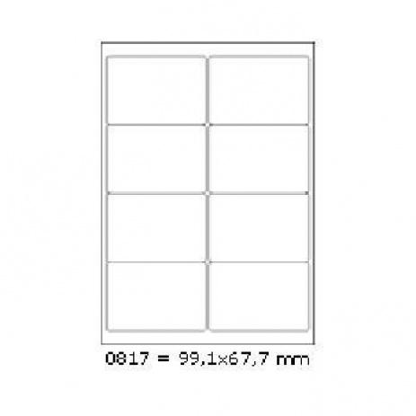 Samoprzylepne etykiety 99,1 x 67,7 mm, 8 etykiet, A4, 100 arkuszy